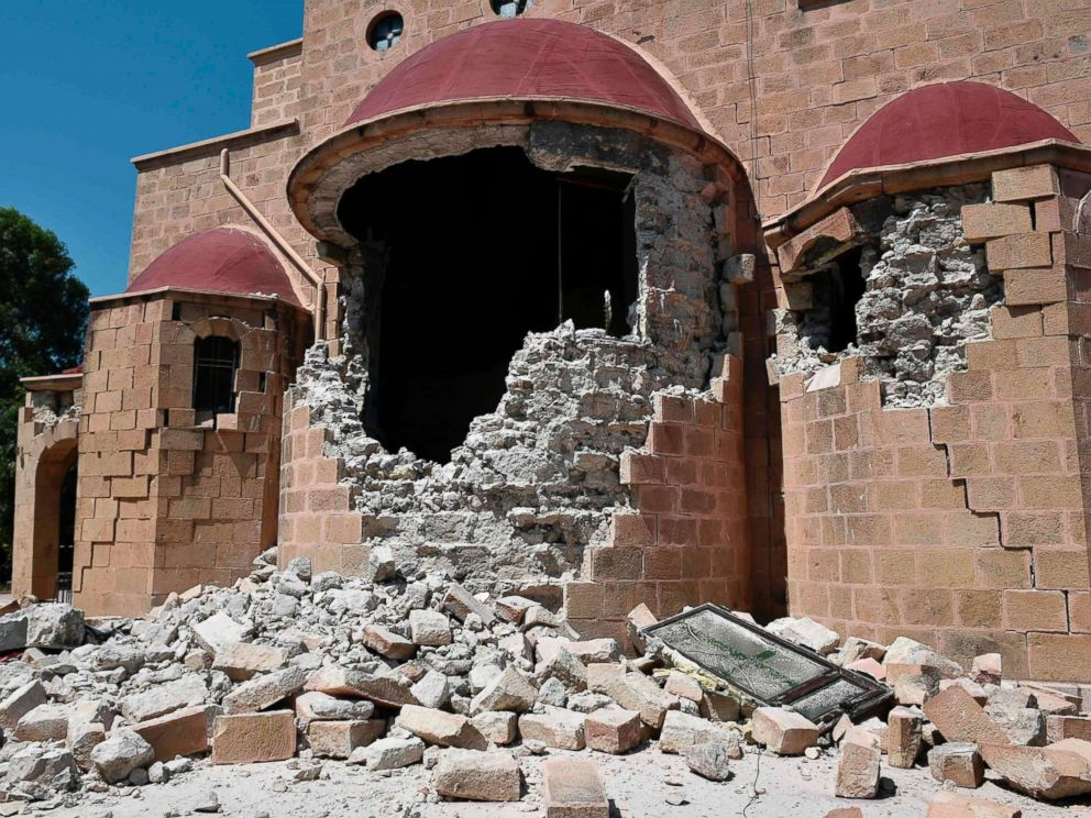 PHOTO: An exterior view of the quake-damaged Church of Saint Nicholas on the Greek Island of Kos following a 6.5 magnitude earthquake which struck the region, July 21, 2017.