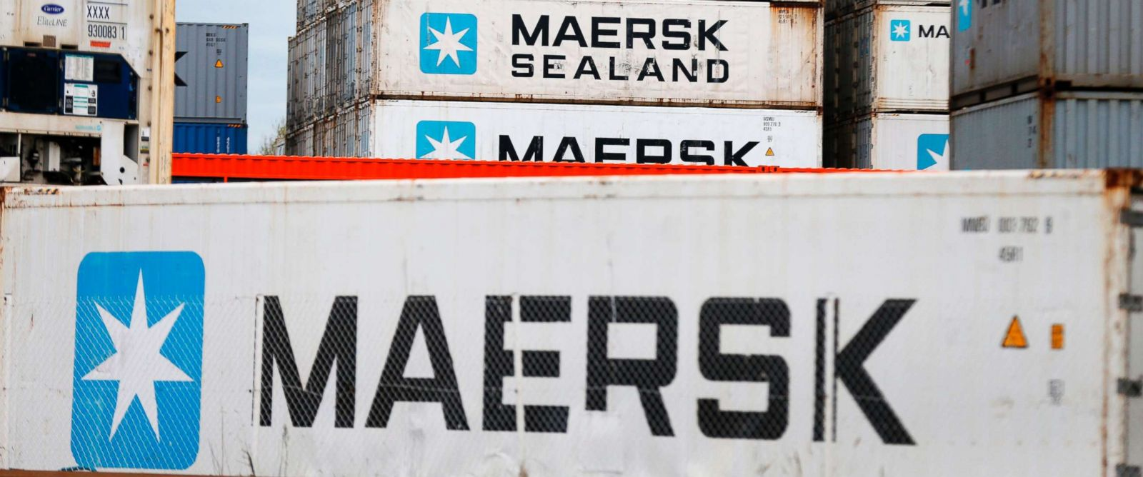 PHOTO: A picture taken on March 29, 2017 shows containers of shipping company Maersk at the docks at Le Havres harbour, in Le Havre, northwestern France.