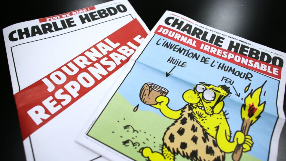 "PHOTO: A picture taken on September 25, 2012 in Paris shows two editions of French satirical magazine ""Charlie Hebdo"" one reading ""Irresponsible newspaper,"" right, and the other, bearing an empty front page reading ""responsible newspaper."""