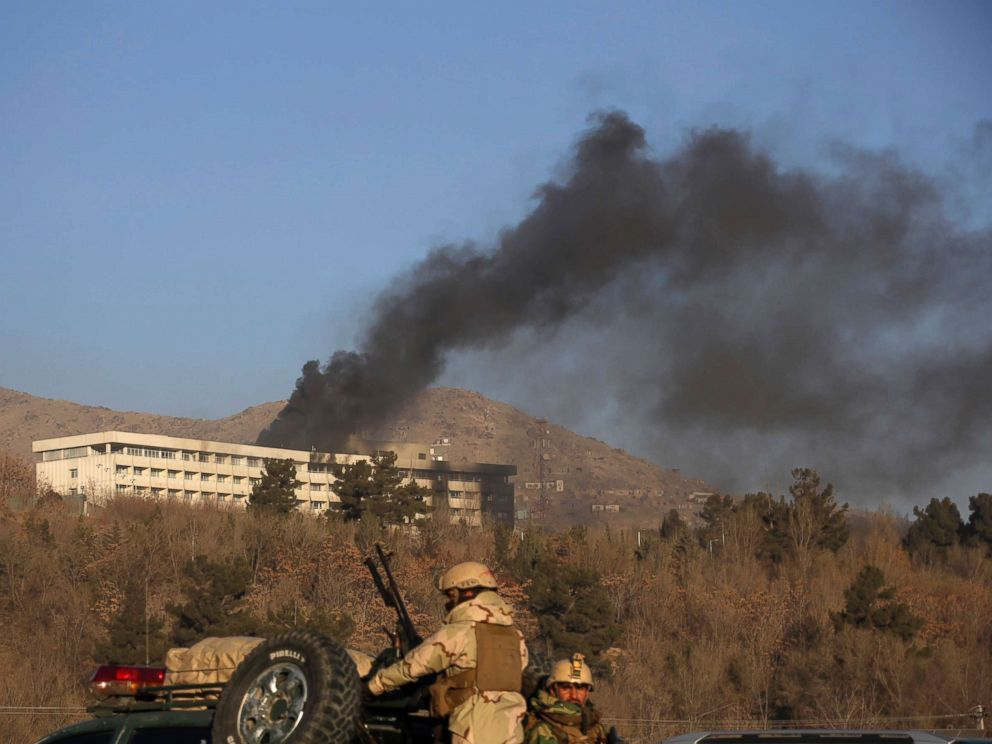 PHOTO: Black smoke rises from the Intercontinental Hotel after an attack in Kabul, Afghanistan, Jan. 21, 2018.
