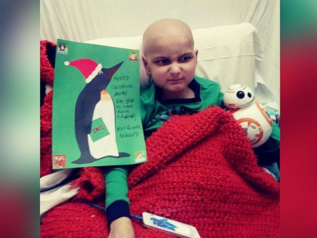 PHOTO: Jacob Thompson, 9, is wishing for Christmas cards from around the world while he fights terminal cancer at The Barbara Bush Childrens Hospital at Maine Medical Center in Portland, Maine.