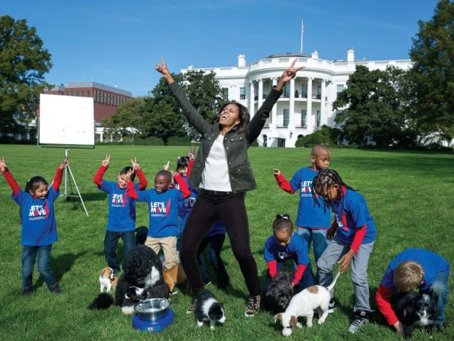 PHOTO: The First Lady participates in an Animal Planet Puppy Bowl filming on the South Lawn of the White House, Oct. 28, 2013.