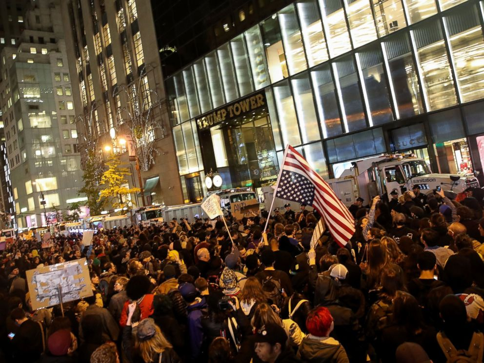PHOTO: Hundreds of protestors rallying against Donald Trump gather outside of Trump Tower, Nov. 9, 2016 in New York City.