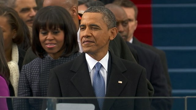 PHOTO: President Barack Obama arrives at the podium for his inaugural speech, Washington DC, Jan. 21, 2013.