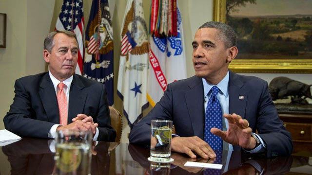 PHOTO: President Barack Obama, accompanied by House Speaker John Boehner of Ohio, speaks to reporters in the Roosevelt Room of the White House in Washington, Nov. 16, 2012, as he hosted a meeting of the bipartisan, bicameral leadership of Congress to disc