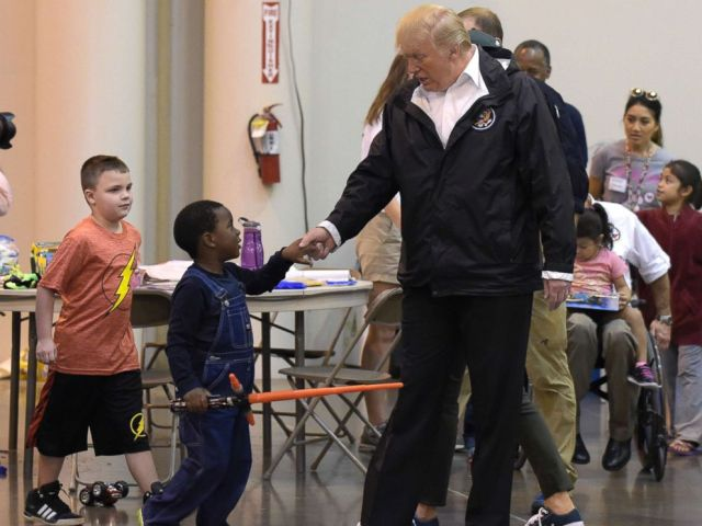 PHOTO: President Donald Trump meets people impacted by Hurricane Harvey during a visit to the NRG Center in Houston, Sept. 2, 2017.