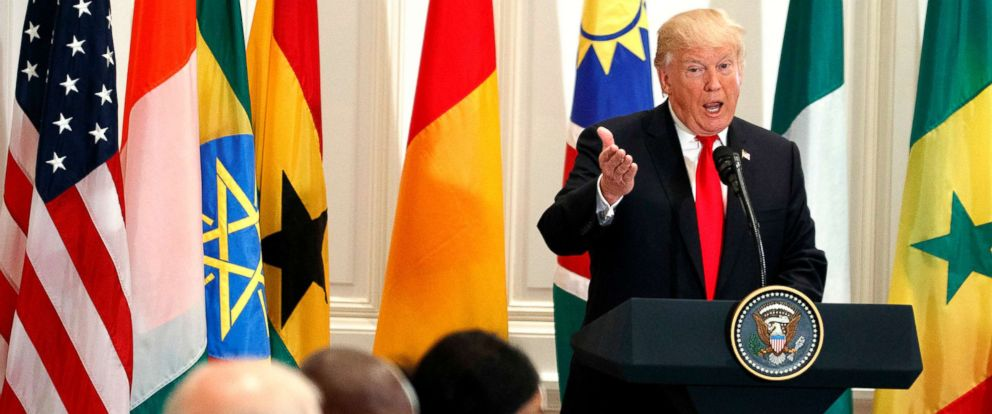 PHOTO: President Donald Trump speaks during a luncheon with African leaders during the United Nations General Assembly, Sept. 20, 2017, in New York.