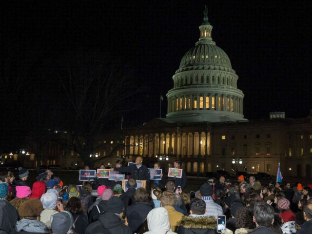 Senator Cory Booker (D-NJ) speaks at a rally outside the US Capital on January 19, 2018 in Washington, DC. A continuing resolution to fund the government has passed the House of Representatives but faces a stiff challenge in the Senate.
