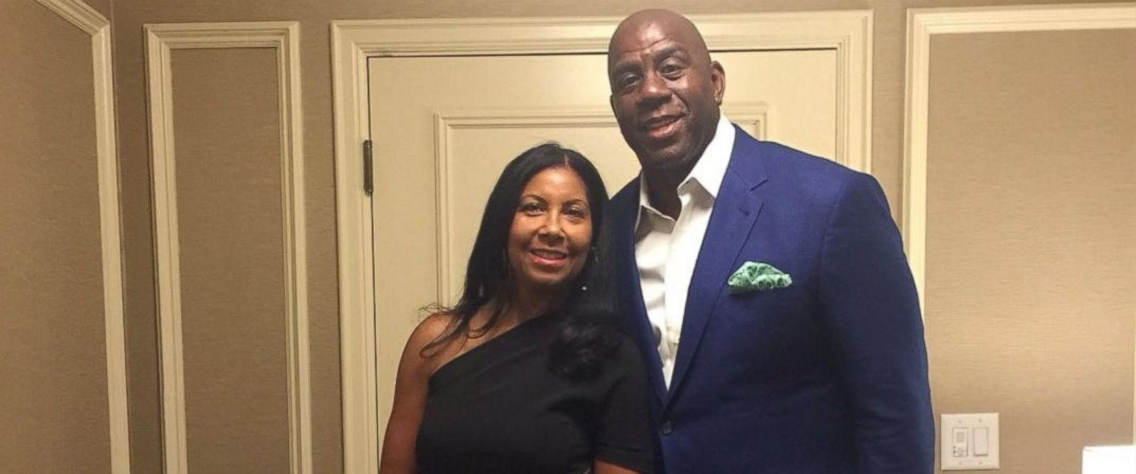 PHOTO: Magic Johnson tweeted this photo of himself and his wife Cookie, before heading to President Barack Obamas 55th birthday party at the White House, on August 5, 2016.