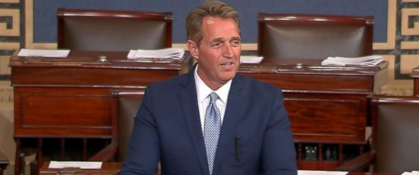 PHOTO: Senator Jeff Flake announces he will not seek re-election as he speaks on the floor of the Senate in this still image taken from video on Capitol Hill in Washington, Oct. 24, 2017.