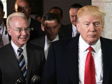PHOTO: Health and Human Services Secretary Tom Price and President Donald Trump arrive at the US Capitol to meet with the Republican House Conference, March 12, 2017.