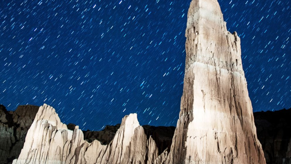 PHOTO: Perseid meteors streak across the sky on Aug. 12, 2013 in Cathedral Gorge State Park, Nev.