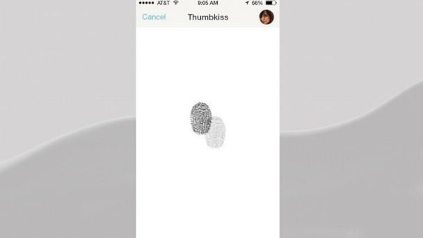 """PHOTO: Couples """"thumbkiss"""" function allows couples to """"touch"""" thumbs in real time via their phones."""
