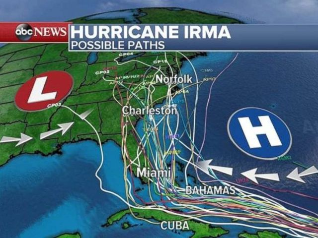 Possible paths for Hurricane Irma as of 5 a.m. on Wednesday, Sept. 6, 2017.