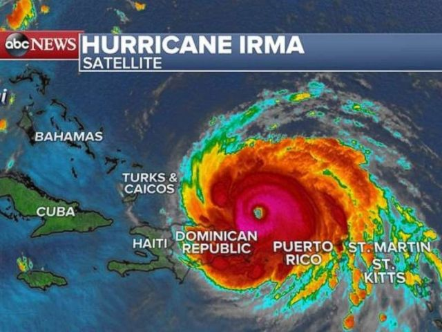 A satellite image of Hurricane Irma as of 5 a.m. on Thursday, Sept. 7, 2017.
