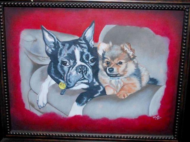 PHOTO: Richard Matt's painting of Joyce Mitchell's pet dogs.