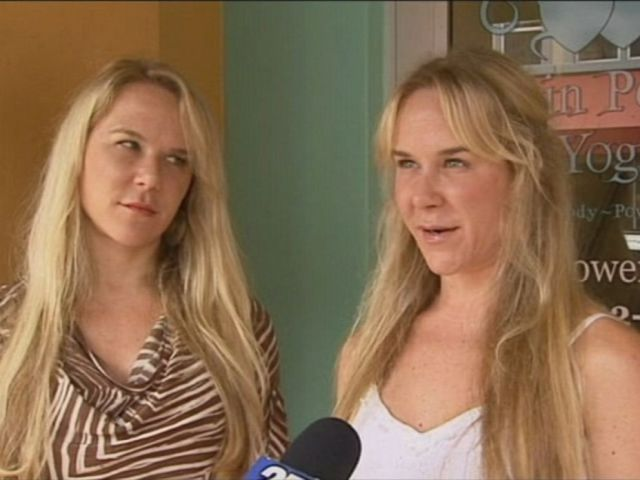 PHOTO:In this undated file photo, Alexandria Duval and her identical twin sister, Anastasia Duval, are interviewed in front of their former yoga studio.