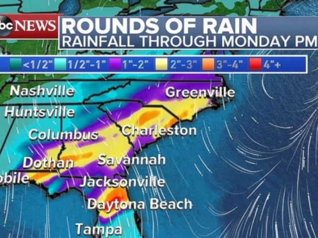 PHOTO: The Southeast will experience rainfall on Monday.