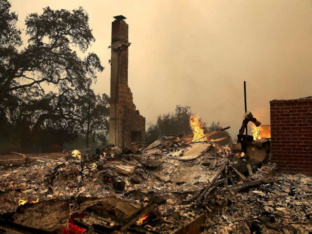 PHOTO: The remains of fire damaged homes after an out of control wildfire moved through the area, Oct. 9, 2017, in Glen Ellen, California.