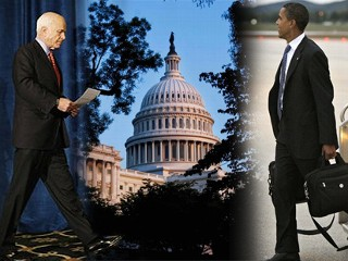 Pic image of Sens. Barack Obama and John McCain on the left and right with a center picture of the U.S. Capitol in Washington, where the Senate will vote on the economic recovery package or bailout.