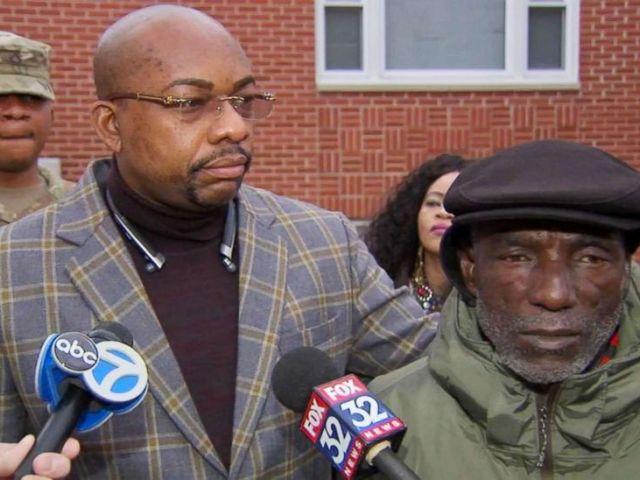 PHOTO: David Ukesone and family attorney, Alex Ogoke, speak to the media.