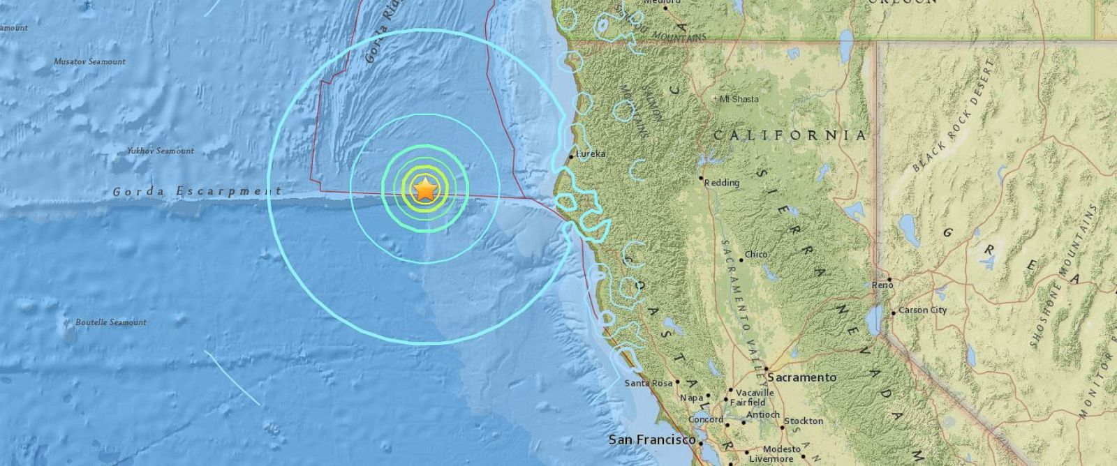 PHOTO: A map from the USGS Earthquake Hazards Program shows the epicenter of a 6.5 magnitude earthquake that struck off of the coast of California on Dec. 8, 2016.