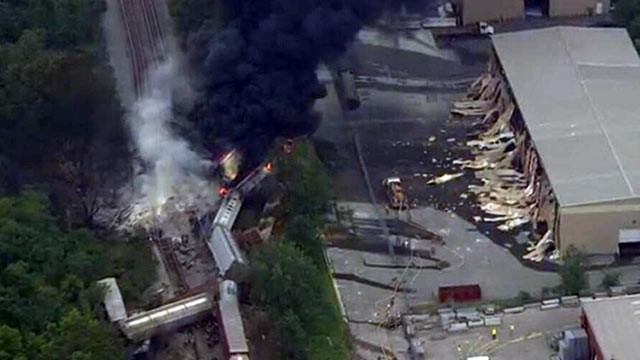 PHOTO: This image provided by WBAL-TV, shows a train derailment outside Baltimore on May, 28, 2013. A fire spokeswoman says the train derailed about 2 p.m. Tuesday in White Marsh, Md.