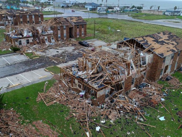 PHOTO: Aerial footage shows damage to Salt Grass Landing Apartments in Rockport, Tx., after Hurricane Harvey.