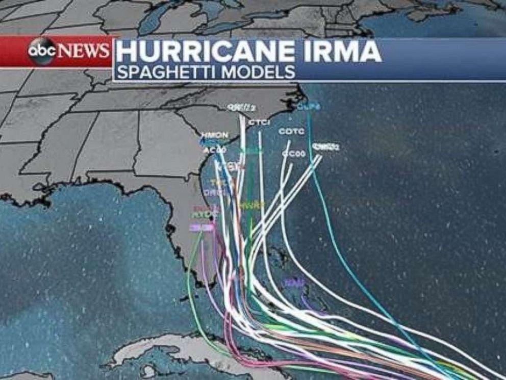 PHOTO: Hurricane Irma spaghetti models as of 2 p.m. Sept. 6, 2017.