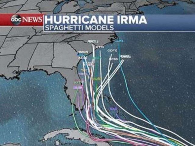 PHOTO: Hurricane Irma spaghetti models as of 2 p.m. Sept. 6, 2017.
