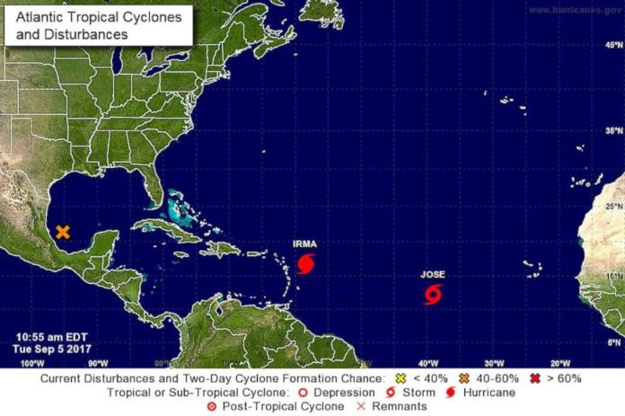 Image result for 2 new hurricanes forming in the caribbean behind irma