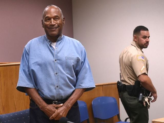 PHOTO: Former NFL football star O.J. Simpson enters for his parole hearing at the Lovelock Correctional Center in Lovelock, Nev., on July 20, 2017.