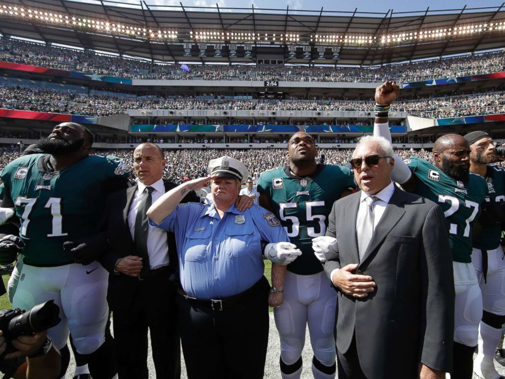 Image result for which eight NFL owners linked arms with the players?
