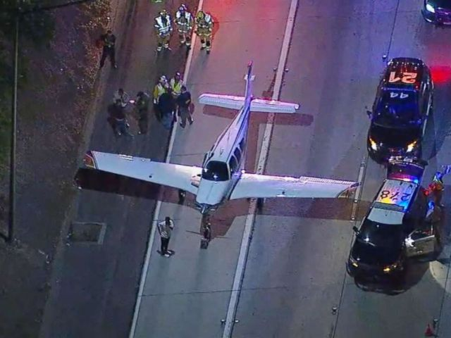 PHOTO: A small plane made an emergency landing on a Southern California freeway, Jan. 28, 2018.