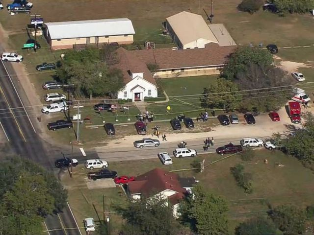 PHOTO: A grab made from aerial video shows first responders on site at First Baptist Church of Sutherland Springs in Sutherland Springs, Texas, Nov. 5, 2017 after reports of a mass shooting.