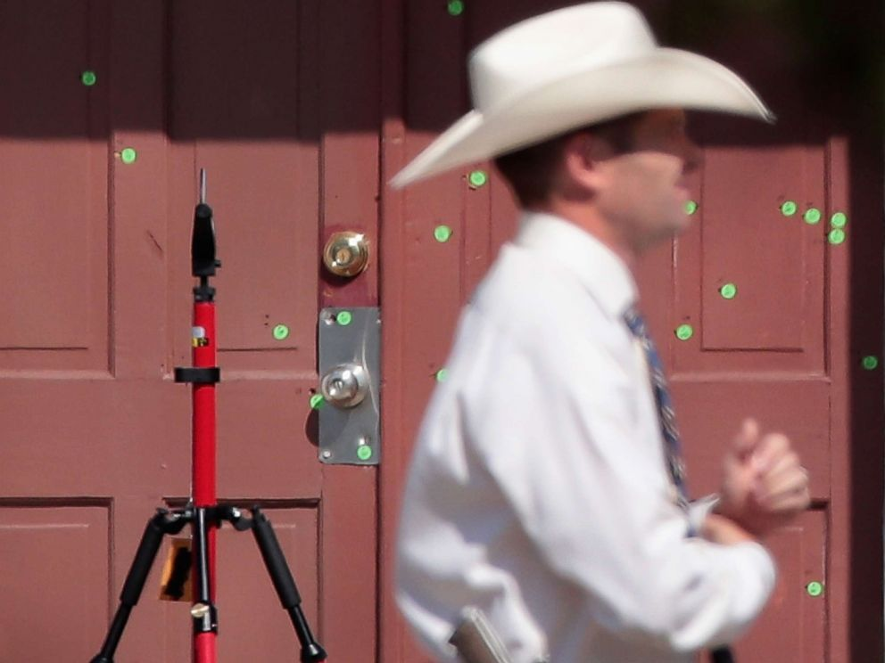 PHOTO: Bullet holes scar the front door of the First Baptist Church of Sutherland Springs on Nov. 7, 2017 in Sutherland Springs, Texas.