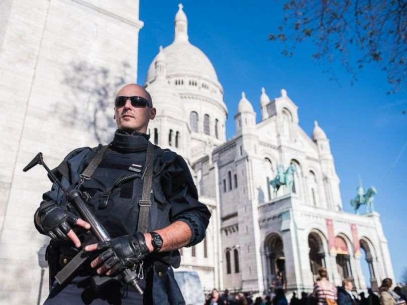 PHOTO: A French police officer patrols the Sacre Coeur basilica in Paris on Nov. 15, 2015.