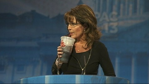 abc cpac sarah palin 4 jt 130316 wblog Sarah Palin Compares Obama to Bernie Madoff, Sips From a Big Gulp and Jokes About Her (Gun) Rack