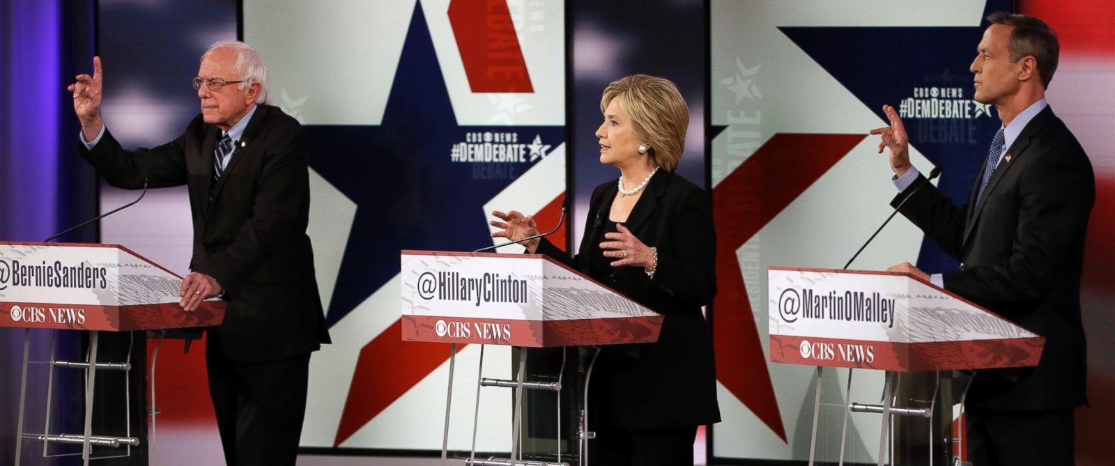PHOTO: Democratic presidential candidates Bernie Sanders, left, Hillary Rodham Clinton and Martin OMalley participate in a Democratic presidential primary debate, Nov. 14, 2015, in Des Moines, Iowa.