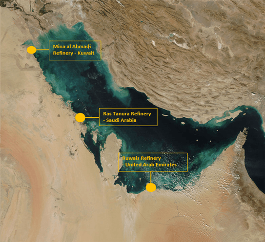 Chart showing Persian Gulf