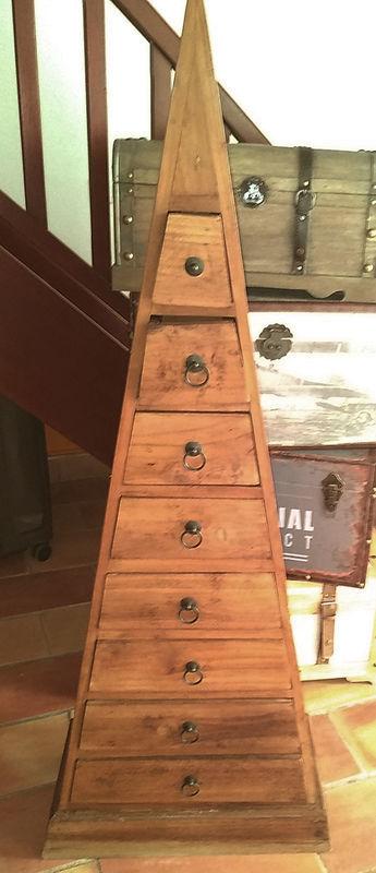 meuble pyramide a tiroirs teck massif