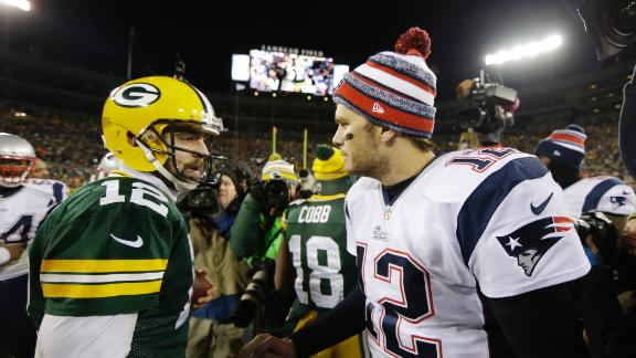 Aaron Rodgers of the Green Bay Packers and Tom Brady of the New England Patriots