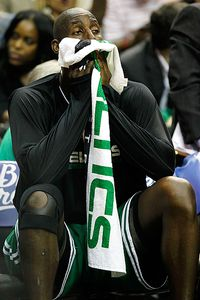Kevin Garnett not enjoying the view Wednesday night Photo: Kevin C. Cox/Getty Images