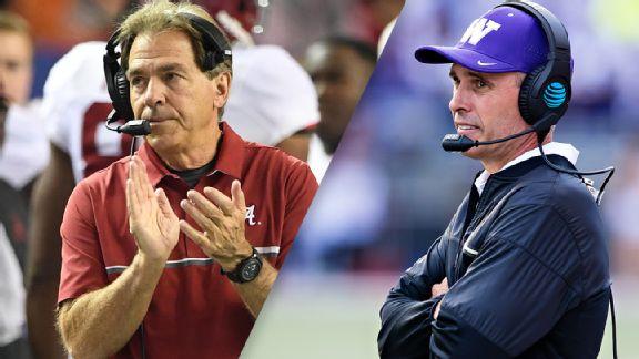 Alabama coach Nick Saban and Washington coach Chris Petersen