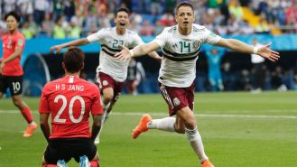Image result for Javier Hernandez scores against South Korea