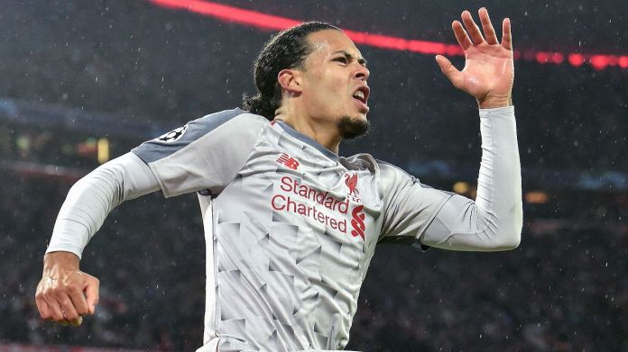 Virgil van Dijk celebrates after scoring in Liverpool's Champions League match at Bayern Munich.