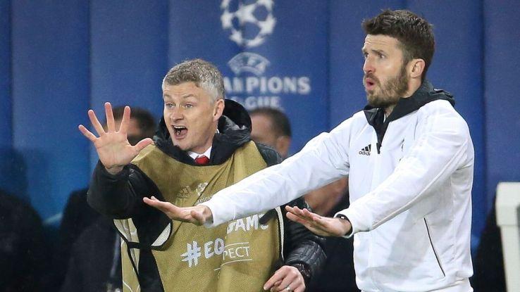 Coach of Manchester United Ole Gunnar Solskjaer, assistant coach Michael Carrick