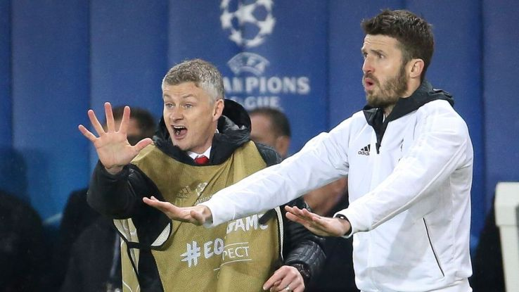 Coach of Manchester United Ole Gunnar Solskjaer, assistant coach Michael Carrick