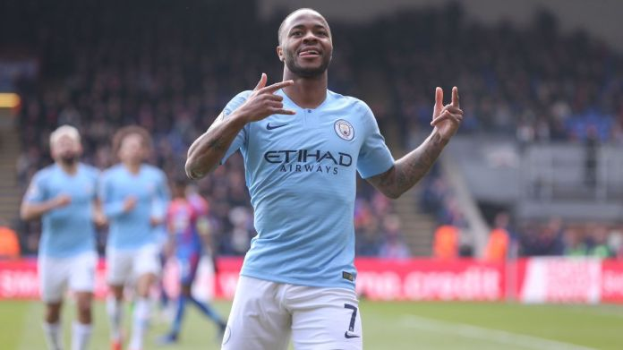 Manchester City's Raheem Sterling celebrates scoring his side's second goal