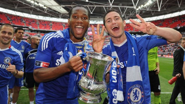 Didier Drogba celebrates with Frank Lampard after winning his third FA Cup, in 2010.